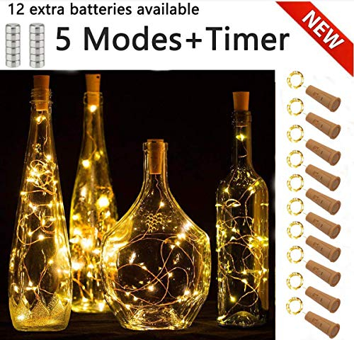 SFUN Wine Bottle Lights with Cork, 5 Dimmable Modes with Timer 10 Pack -12 Replacement Battery Operated LED Silver Copper Wire Fairy String Lights for DIY, Party, Decor,Christmas, Halloween,Wedding