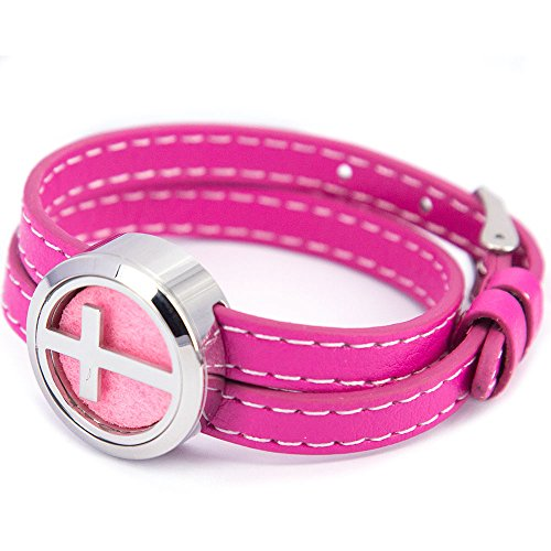 (Mesinya Genuine Leather 1'' (25mm)Cross Bracelet / 316L S.Steel Essential Oils Diffuser Locket Bangle (Pink Leather))
