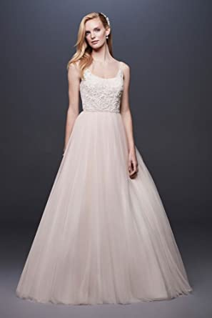 94798e01a5e5 David's Bridal Lace and Tulle Beaded Ball Gown Wedding Dress Style WG3905,  Ivory, ...