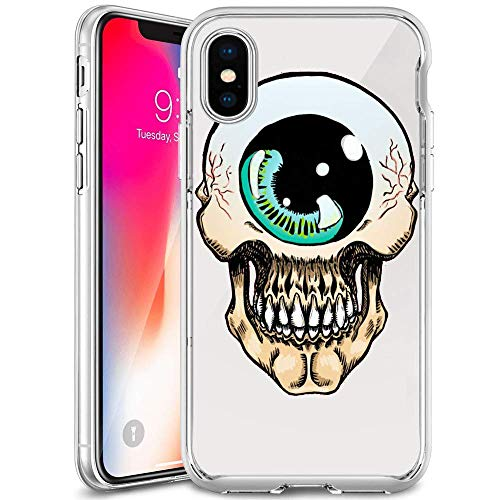 iPhone Xs Clear Case, Cyclops Skull Soft Crystal Ultra-Thin Shock Absorption Protective Case for iPhone Xs -