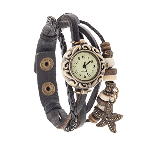 Highest Quality Vintage Style Ladies Quartz Wrist Watch With Genuine Leather Band Bracelet In Black Color, Braided Strap, Retro Beads And Bronze Colored Starfish Shaped Charm Pendant Dangle By (Antique Ladies Watch)