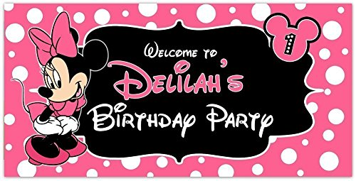 Minnie Mouse Pink Birthday Banner Personalized Party Decoration]()