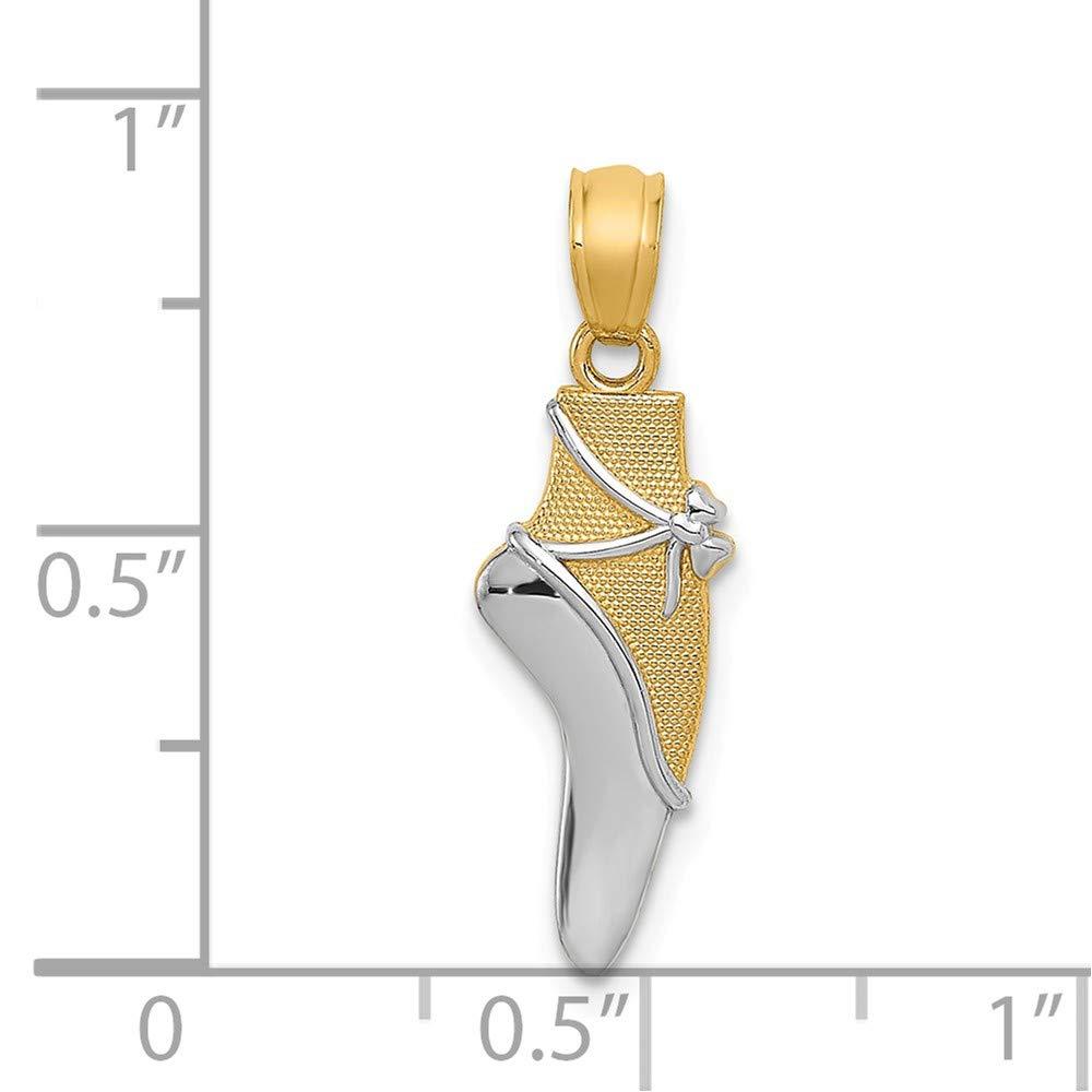 14k Yellow Gold /& Rhodium Ballet Shoe Pendant