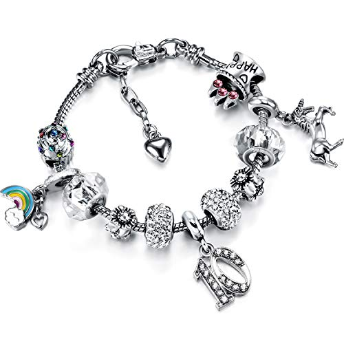 Zhanmai Unicorn Charm Bracelet Birthday Number Bracelet with Gift Card Box 1st 2nd 3rd 4th 5th 6th 7th 8th 9th 10th 11th 12th 13th 16th 18th 20th 21st 30th 40th 50th 60th 70th 80th