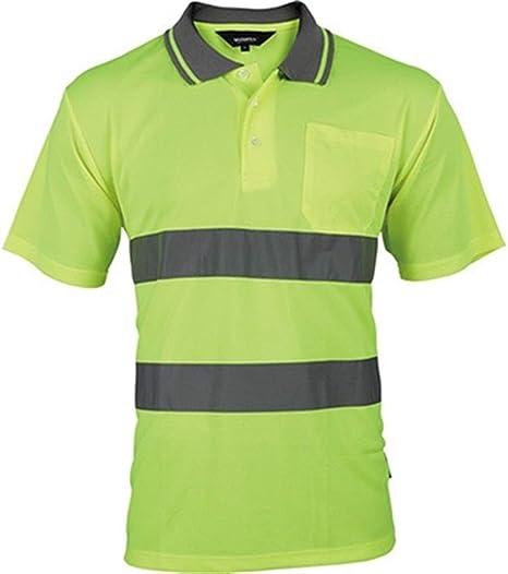 Bandas Reflectantes Alta visibilidad chaleco reflectante Hombres camisa amarilla con cintas reflectantes en cortocircuito la camisa de la manga dos tonos de seguridad ropa de trabajo de construcción: Amazon.es: Hogar