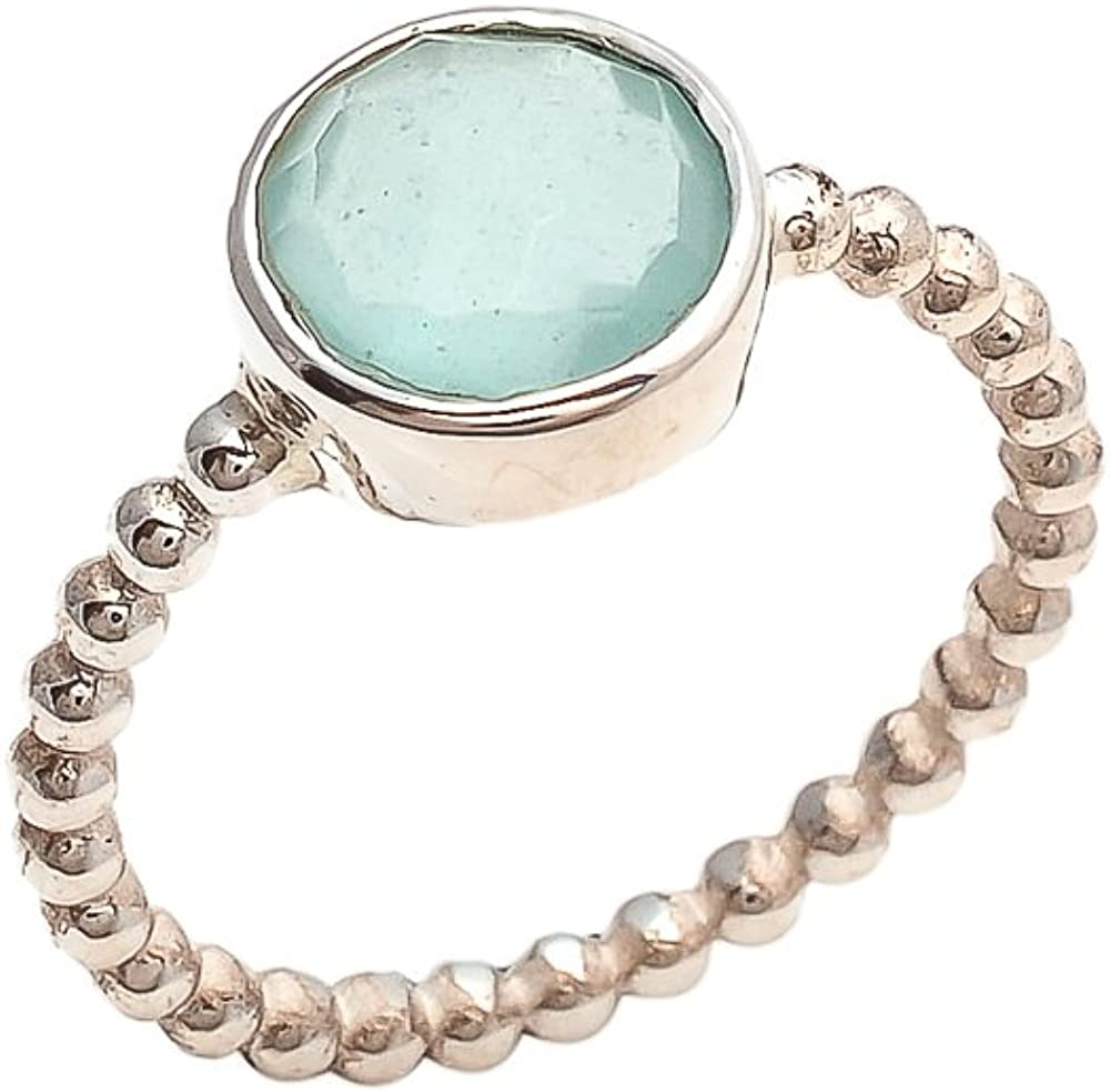 Aqua Chalcedony 10mm Round Faceted 925 Sterling Silver Plated Bezel Ring