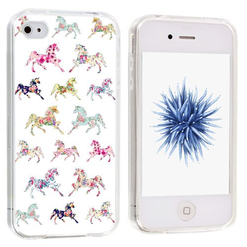 4s Case Animal - CCLOT Flexible Cover Protector Compatible for iPhone 4/4S Horse (TPU Protective Silicone Bumper Skin)