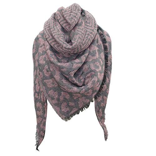 ◕‿◕Maonet Fashion Women Scarf Scarves Winter Warm Leopard print Long Wrap Shawl Stole Cape (Pink)