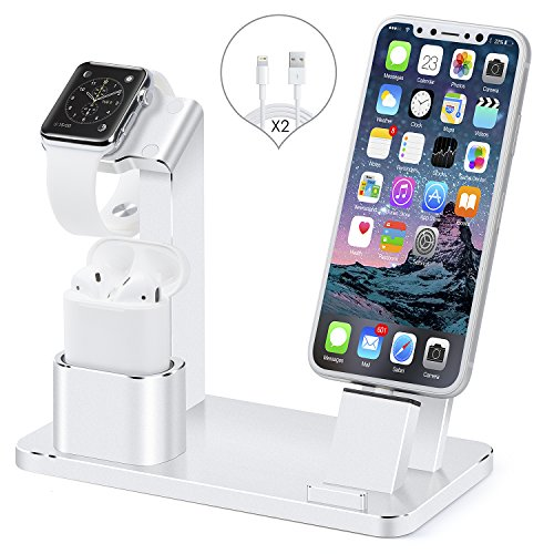 Apple iWatch Stand, iPhone and AirPods Stand, SENZLE 4 in 1 Aluminum Charger Stand Dock Station for Apple Watch Series 4/3/2/AirPods/iPhone X/XS/XR/XS MAX/8/8+/7/6/iPad Mini【NightStand Mode】(Silve