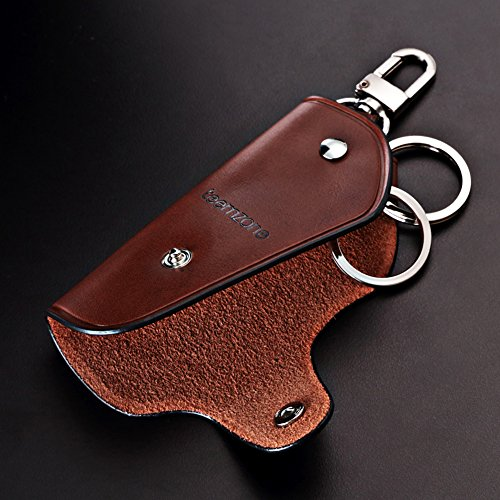 Unisex Real Leather Key Bag Key Chain Case Car Key Holder (Brown) Photo #7