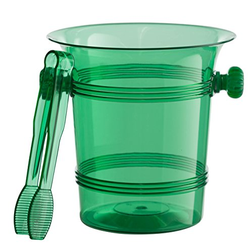 Exquisite 1.5 Quart Hard Plastic Ice Bucket With Tongs- 6 Count- Dark Green (Green Ice Bucket)