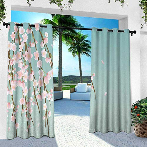 - Hengshu Weeping Flower, Outdoor Curtain Waterproof Rustproof Grommet Drape,Freshly Blooming Cherry Blossom Branches with Flower Buds, W96 x L108 Inch, Pale Pink Baby Blue and Taupe