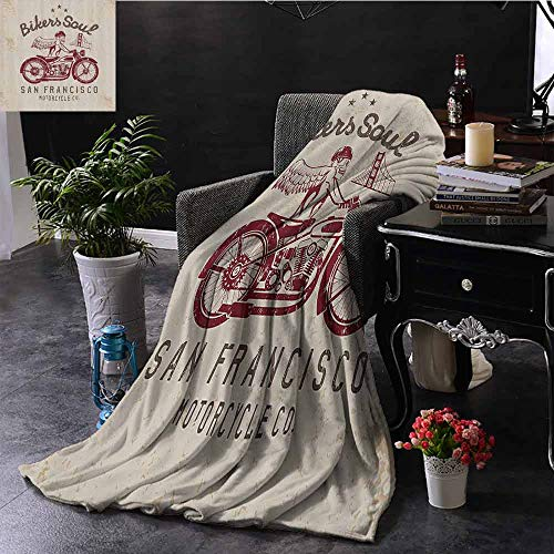 Luoiaax Retro Children's Blanket Bikers Soul San Francisco Emblem with Skull Wings Riding Motorcycle Dead Illustration Lightweight Soft Warm and Comfortable W55 x L55 Inch Beige Ruby (Francisco Sofa Stores San)