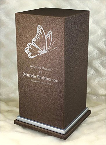 PERSONALIZED Engraved Butterfly Cremation Urn for Human Ashes-Made in America-Handcrafted in the USA by Amaranthine Urns(Adult Funeral Urn up to 200 lbs living weight)Eaton SE-Silver Trim-Cast Bronze
