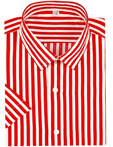 Vertical Striped Linen - DOKKIA Men's Business Short Sleeve Vertical Striped Dress Shirts (Red White, Small)