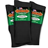 Extra Wide Lightweight Cotton Comfort Fit Dress Socks 3-PK Made in the USA (Large Green Label, Black)