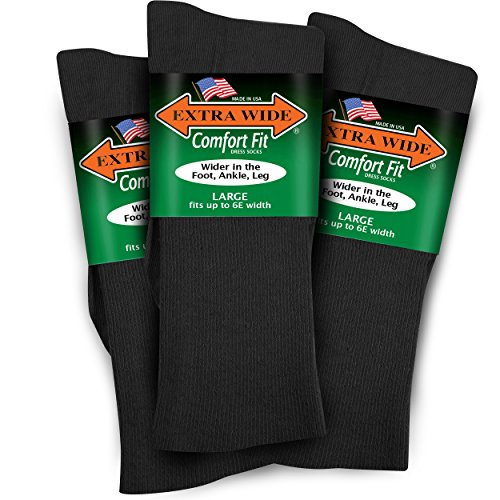 - Extra Wide Lightweight Cotton Comfort Fit Dress Socks 3-PK Made in the USA (Large Green Label, Black)