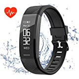 Fitness tracker, Teetox Activity Tracker Watch with Heart Rate Monitor Waterproof Smart Bracelet Wristband ip67, Step Calorie Counter Wearable Pedometer for Kids Women Men(black)