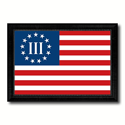 SpotColorArt 3 Percent Betsy Ross Nyberg Battle III Revolutionary War Military Flag Canvas Print with Black Picture Frame Gift Ideas Home Decor Wall Art (Betsy Ross Flag Picture)