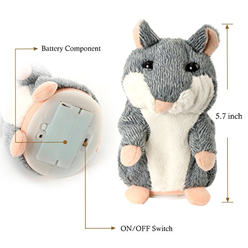 OLEY Plush Animals Soft Toys Cute Mimicry Pet Talking Hamster Repeats What You Say Electronic Hamster Mouse for Baby Boys and Girls Gift,3 x 5.7 inches( Grey )