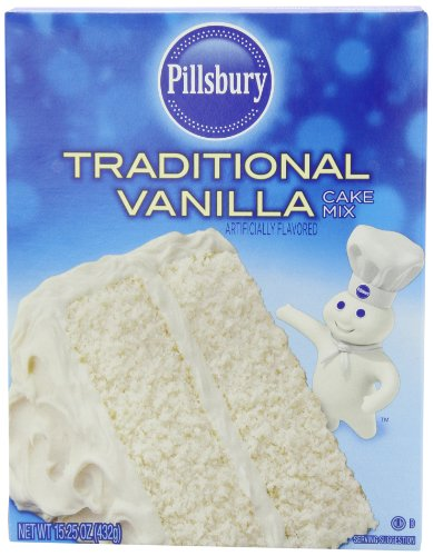 Pillsbury Traditional Cake Mix, Vanilla, 15.25 Ounce (Pack of 12) (Vanilla Cake)
