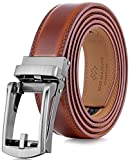 Marino Men's Genuine Leather Ratchet Dress Belt with Open Linxx Buckle, Enclosed in an Elegant Gift Box - Burnt Umber - Style 37 - Adjustable from 28' to 44' Waist