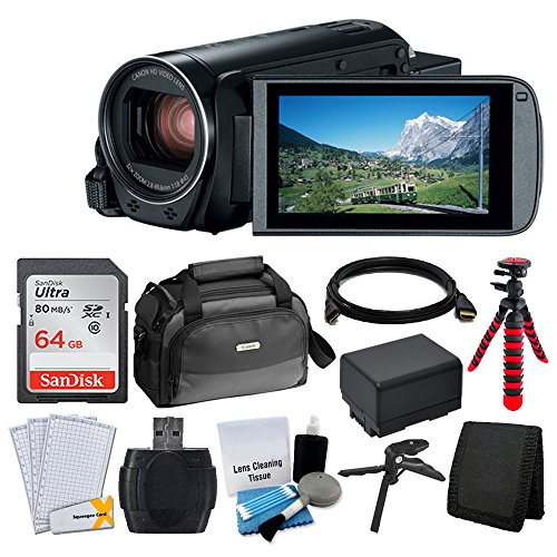 Canon VIXIA HF R80 Camcorder + Canon SC-A80 Soft Case + Sandisk 64GB Memory Card + Extra BP-727 Battery Pack + Flexible, Wrapable Tripod + USB Card Reader + Screen Protectors – Valued Accessory Bundle