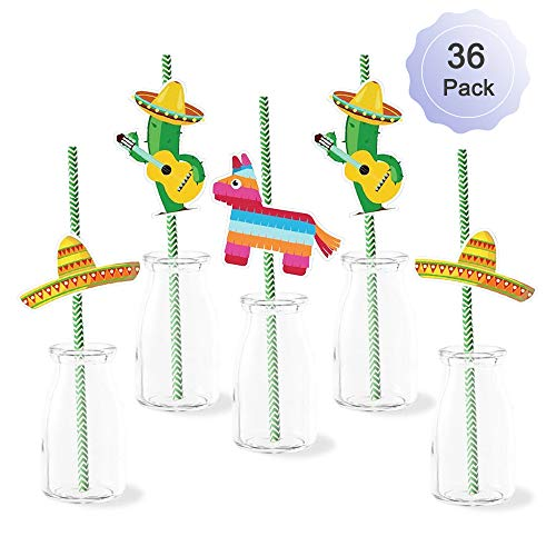 Fiesta Paper Straws Decor Mexican Fiesta Party Striped Decorative Paper Straws for Graduation Hawaiian Wedding Bachelorette Birthday Party Supplies Decorations 36 Pack Cactus Donkey Sombrero Hat