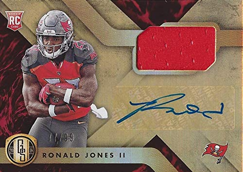 (AUTOGRAPHED Ronald Jones II 2018 Panini Gold Standard Football ROOKIE JERSEY RELIC SIGNATURE (Tampa Bay Bucs) Signed Insert Collectible NFL Football Trading Card #77/99)