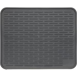 "XXL Super Size Silicone Dish Drying Mat 24"" x 18"" - Large Drainer Mat and Trivet by LISH(Slate Grey)"