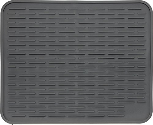 "22"" x 18"" XL Silicone Dish Drying Mat - Large Dish Drainer Mat and Trivet by LISH (Slate Grey)"