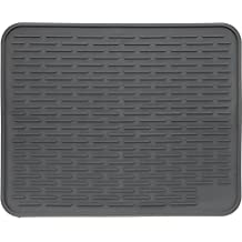 """XXL Super Size Silicone Dish Drying Mat 24"""" x 18"""" - Large Drainer Mat and Trivet by LISH(Slate Grey)"""