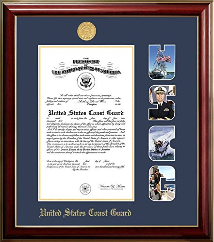 (Campus Images CGCCL001S11x14 Coast Guard Certificate Classic Frame with Gold Medallion and Snap Shots, 11