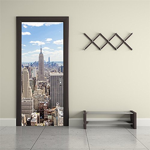 Nalichy New York City Cityscape Door Wall Stickers Murals Decal, Manhattan View Self-adhesive Waterproof Wallpaper Home Decor Cityscape Wall