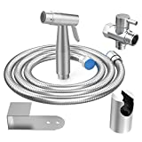 EIGSO 360 degree Dual Function (soft/spray) Stainless steel Hand Held Sprayer - Complete Bidet Set for Toilet, Hand Bidet Sprayer for Beday Toilet
