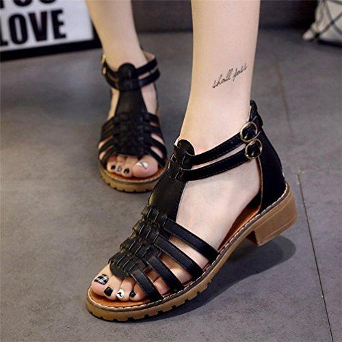 Femmes pour Bout Talons Sandales Carrés Chaussures Sandale JITIAN Bride Romaine Noir Ouvert Spartiate Cheville wPaEq5xRFx
