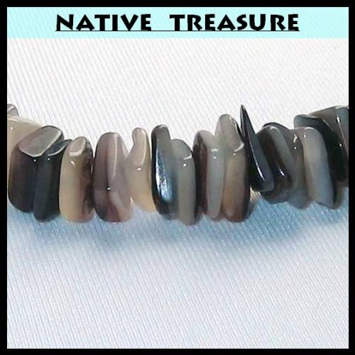 "Native Treasure - 18"" Gray Chips Puka Shell Necklace"
