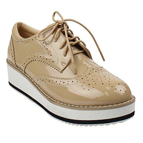 Beston DE19 Women's Platform Wingtips Wedge Heel Oxford Shoes Run One Size Small, Color Apricot, Size:10