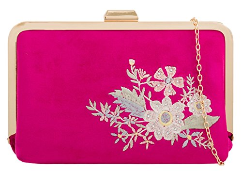 Fucsia Bordado Retro Embrague De Femeninos Bolsa Bolsos 6YwxHH