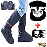 Motorcycle Boot Covers - Outdoor Protective Riding Rain Suit Gear Waterproof Weatherproof - Full Shoe Slip Over - Rainstorm Rainy Days Plus Skull Decal & Skeleton Riding Face Mask (XS)