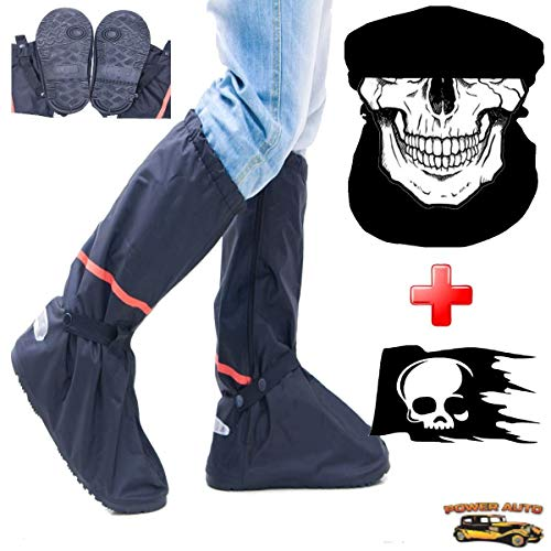 Motorcycle Boot Covers - Outdoor Protective Riding Rain Suit Gear Waterproof Weatherproof - Full Shoe Slip Over - Rainstorm Rainy Days Plus Skull Decal & Skeleton Riding Face Mask (M)
