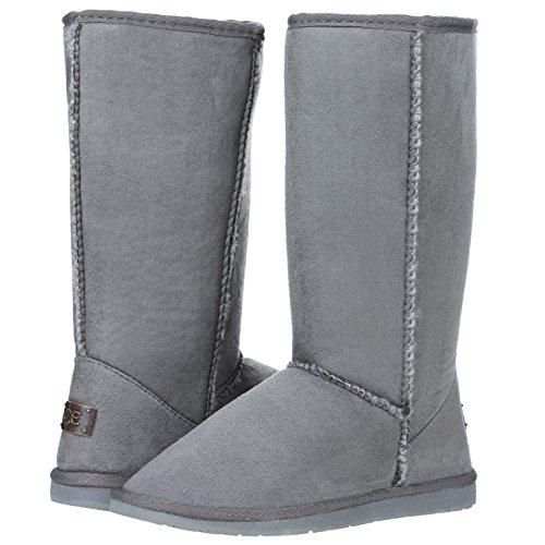 Women's Mid Calf Classic Tall Winter Snow Fur Boots (8, Gray) -