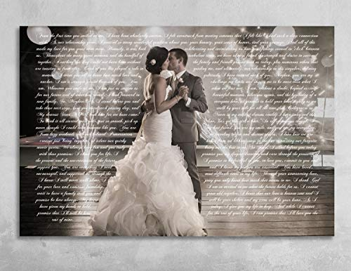 CANVASPrtint Wedding Vows Framed Wedding Vow Art Wedding Vows Keepsake Personalized Canvas Vows On Canvas Gift Anniversary ()