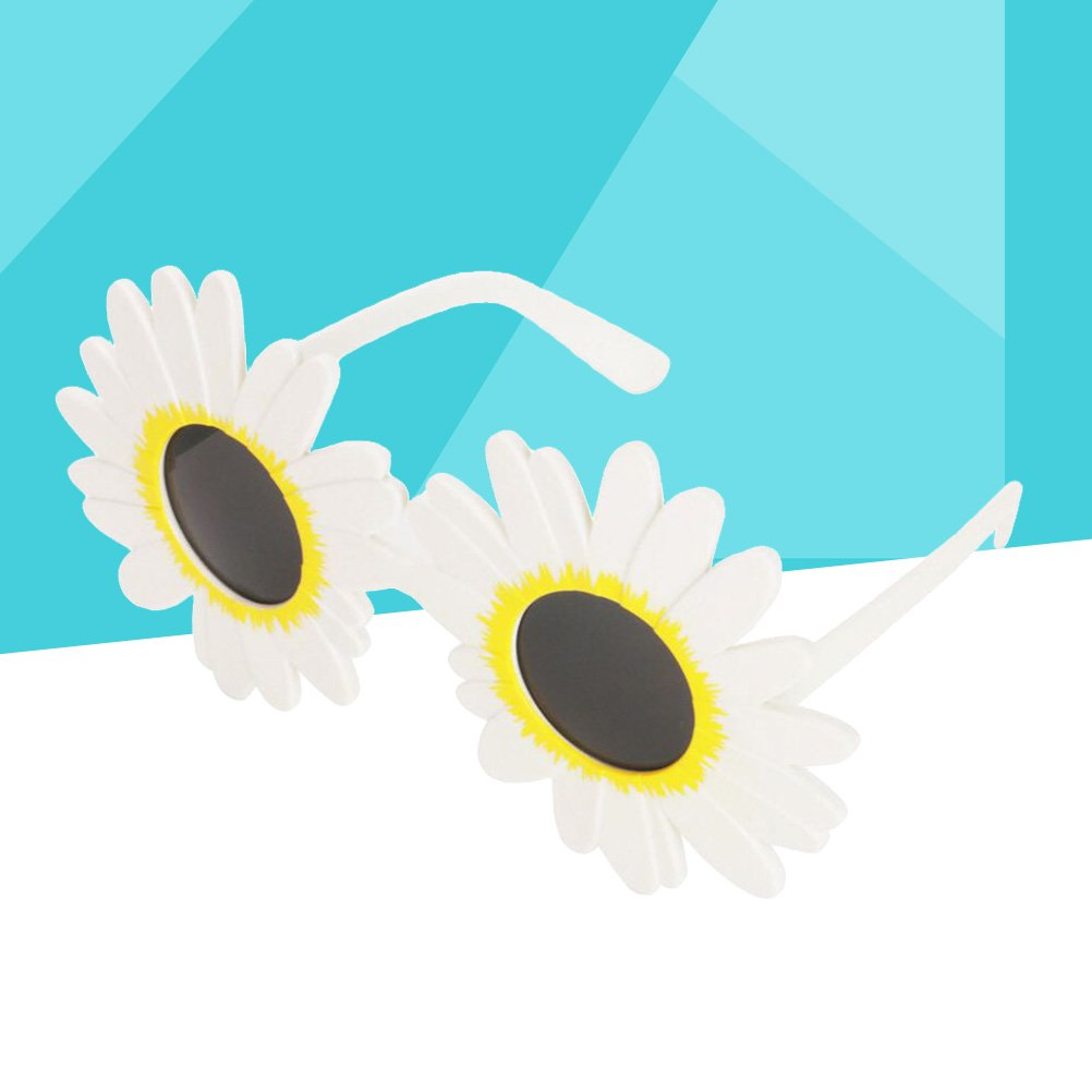 BESTOYARD White Daisy Flower Costume Glasses Hawaiian Dance Sunglasses Luau Hawaii Party Supplies Tropical Party Decoration Halloween Costumes