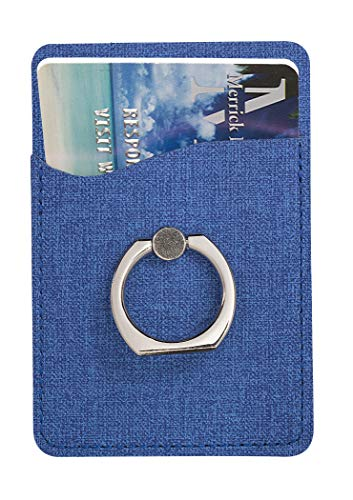 Ashee RFID Blocking Privacy Protection Leatherette Cell Phone Wallet Pocket Pouch Card Holder Ring Stand Stick on Mobile Devices, Adhesive Sticker Back ()