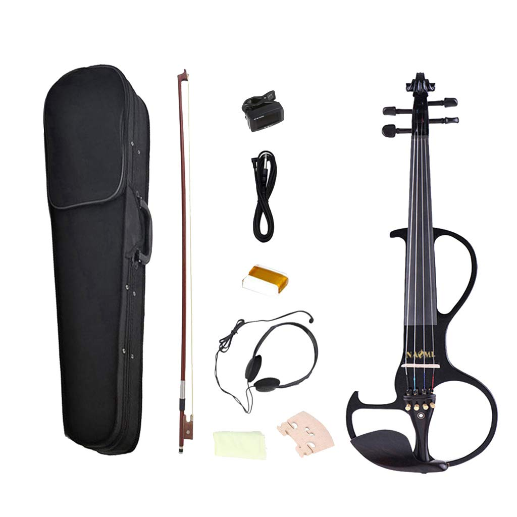 kesoto 4/4 Solid Wood Electric/Silent Violin with Ebony Fittings - Full Size or Students, Beginners, Music Lover - Black by kesoto