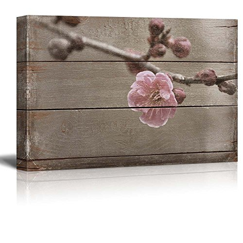 wall26 Cherry Blossom just as it Opens - Rustic Floral Arrangements - Pastels Colorful Beautiful - Wood Grain Antique - Canvas Art Home Decor - 24x36 inches