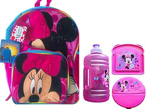 - Minnie Mouse Backpack with Lunch Box Attachment Includes Lunch Essentials Water Bottle, Sandwich and Snack Container (MINNIE MOUSE JUG BOTTLE)