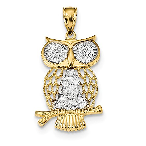 Roy Rose Jewelry 14K Two-tone Gold with Rhodium Diamond-cut Polished Moveable Owl Pendant