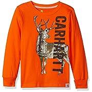 Carhartt Baby Little Boys' Long Sleeve Tee Shirt, Deer Bright Orange, 6M